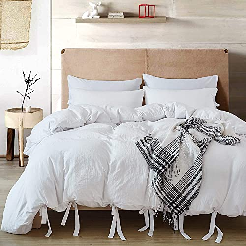 Annadaif White Duvet Cover Queen Size,3 Pieces Soft Washed Microfiber Duvet Cover Set ,Comforter Cover with Bowknot Bow Tie (1 Duvet Cover 90x90 Inch, 2 Pillowcases) Easy Care Bedding Set