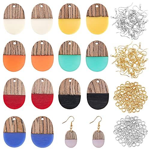 OLYCRAFT 176 pendientes de resina de madera, pendientes ovalados de resina, madera de nuez, pendientes de madera de resina, vintage, para hacer collares y pendientes, 8 colores