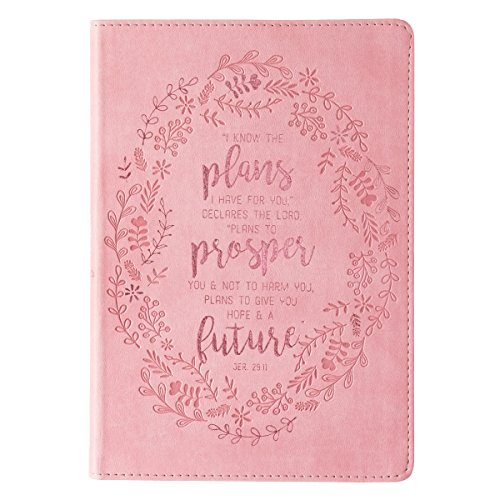 Christian Art Gifts Pink Faux Leather Journal   I Know The Plans Jeremiah 29:11 Bible Verse   Slim Line Flexcover Inspirational Notebook w/Ribbon Marker, 240 Lined Pages, 6 x 8.5 x .8 Inches