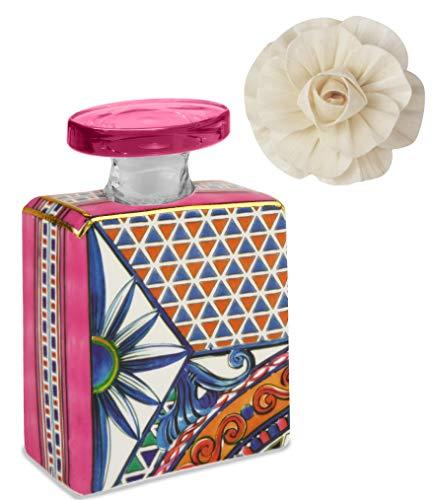Maroc & Roll – Sicily Botella Mini difusor de perfume de porcelana con flor de corteza de helado, 100 ml – SBTMINI.B&R04