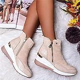 Liart Zapatillas con Tacones para Mujer Zapatos para Caminar Ponerse Zapatillas de Deporte Vulcanizadas de Caña Alta de Moda Botas de Cuña con Plataforma