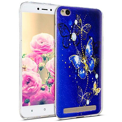 Uposao Kompatibel mit Hülle Xiaomi Redmi 5A Silikon Handyhüllen Schöne Muster Durchsichtige Ultradünn Schutzhülle Transparent Silikon Bumper Clear Backcover,Glitter Schmetterling
