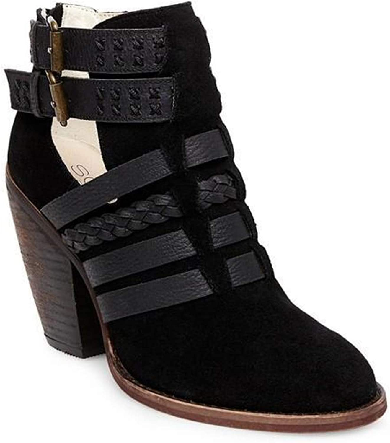 Soho Cobbler Eliat Strappy Leather and Suede Booties Black