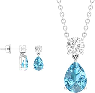 2.22 CT Pear Cut Aquamarine Jewelry Set, Round Cut Moissanite Earring, Teardrop Necklace and Earring Set, Gold March Birth...