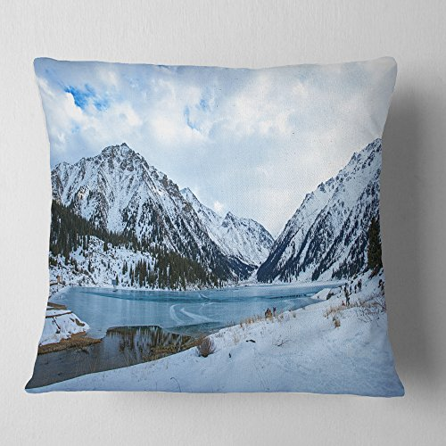 Designart Lake Between Foggy Mountains Landscape Photography Throw Living Room Sofa Pillow Insert Cushion Cover Printed On Both Side 26 In X 26 In Shefinds