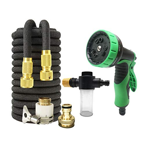 LOVCCIE Hose Pipe Spray Gun, Extendable Hose Spray Gun Magic Hose Car Wash Irrigation Garden Hose with Foam Pot 17-100FT (Color : Black, Size : 75ft)