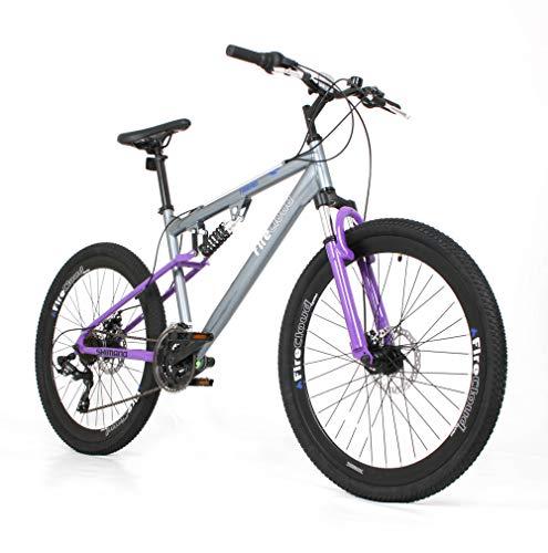 26' HEAVEN Girls BIKE - Adult FireCloud DISC Bicycle in PURPLE (Dual Suspension)