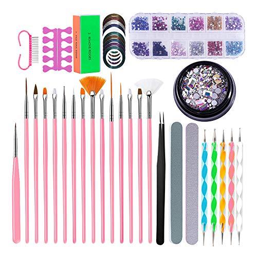 Kit de Herramientas de Uñas para Manicura, Homeet Kit de Accesorios Decoración Uñas Nail Art Juego de Pinceles de Diseño para Uñas Pincel para Nail Art Kit Set Cepillos Decoraciones Nail Art Kit 3D
