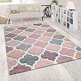 Tappeto d'Oriente Rosa Colorato Soggiorno Colori Pastello Design Marocchino Pile Corto, Dimensione:60x100 cm