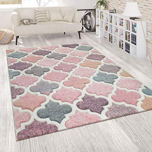 Paco Home Orient Teppich Rosa Bunt Wohnzimmer Pastellfarben Marokkanisches Design Kurzflor, Grösse:120x170 cm