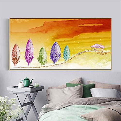 Rahmenlose Malerei Leinwand Wandkunst Deko Bild ländliche Landschaft Poster Zeichentrickfigur und Landschaft Wandbild ZGQ5053 60X120cm