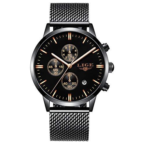 LIGE Relojes para Hombres Deportes Impermeable Moda Analógico de Cuarzo Cronógrafo Negro del Calendario de la Malla del Acero Inoxidable Relojes de Pulsera