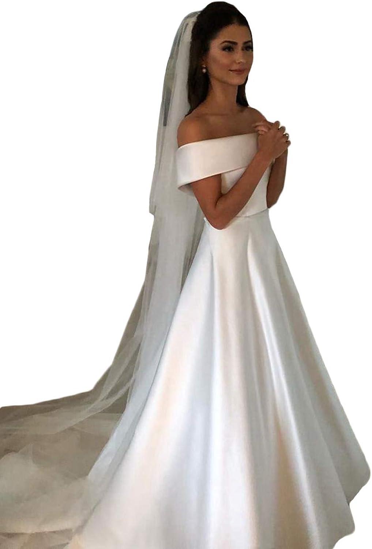 Tsbridal Elegant Beach Wedding Dress Aline Boat Neck Simple Bridal Ivory Satin Women Wedding Gowns