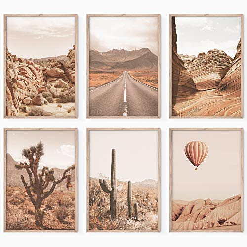 Bold Design Aesthetic Posters & Prints Set - Boho Wall Decor Art Prints - 6 Unframed 17x11 in Southwestern Desert Wall Art Pictures - Desert Wall Art Posters & Prints for Home or Office