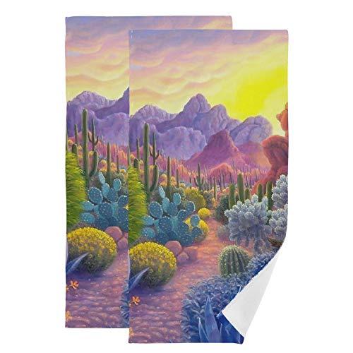 Toallas de mano altamente absorbentes, suaves, cactus, poliéster, algodón, toallas de baño, para cocina, gimnasio, yoga, spa, juego de 2