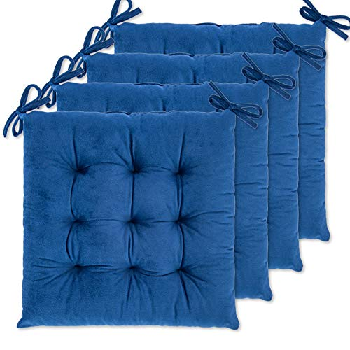 WONDER MIRACLE 4 Pack Seat Cushion/Chair Cushion Pads for Dining Chairs, Office Chair, Car, Floor, Outdoor, Patio,Machine Wash & Dryer Friendly (Flannel 16'×16', Navy)