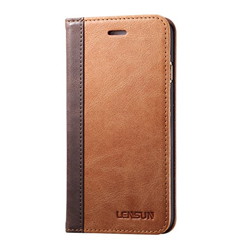 Lensun Cover iPhone 7 Plus, Cover iPhone 8 Plus, Vera Pelle Cuoio Custodia Genuio Annata a Portafoglio con Coperchio Apribile per iPhone 7/8 Plus 5.5' - Marrone (7P-FG-BN)