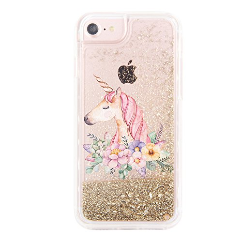 uCOLOR Gold Glitter Floral Unicorn Case for iPhone 6S/ 6, iPhone 7 Case iPhone 8 Case iPhone SE(2020) Waterfall Clear Protective Case for iPhone 8/7/6S/6/SE 2nd(4.7')