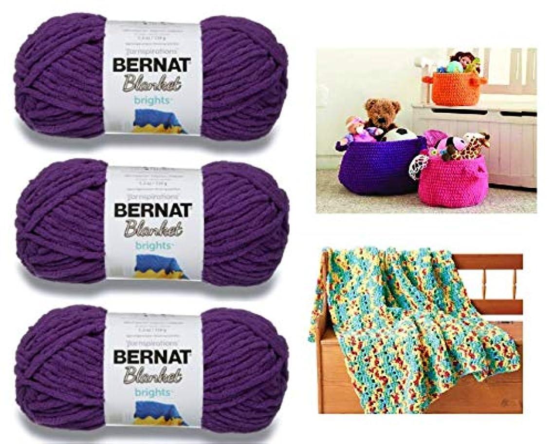 Bernat Blanket Brights Yarn - 3 Pack Bundle with 2 Patterns - Pow Purple