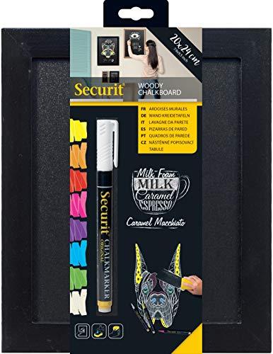 SECURIT Woody Ardoise - Bois Finition Laqué - Feutre-Craie Blanc + Kit de Montage Inclus -20x24cm