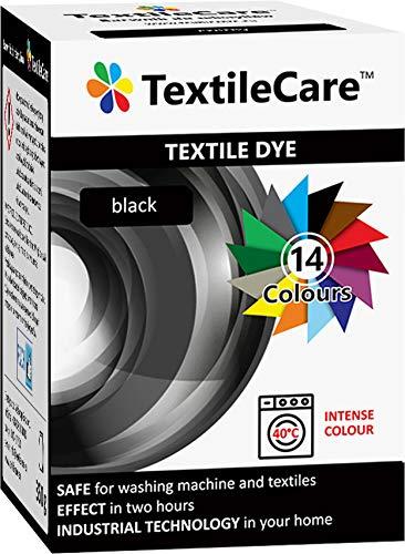 TextileCare Tinte para ropa y textil, color negro, 350 g de tinte para ropa de 600 g, 14 colores (negro)