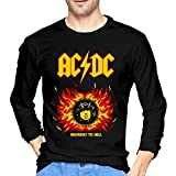 tee Camiseta ACDC Highway to Hell Men's T Shirt Round Neck Print Long Sleeve tee Tops Black