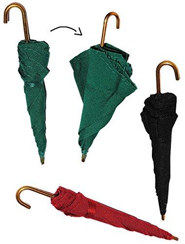 alles-meine.de GmbH 3 TLG. Set: Regenschirme - schwarz + rot + grün - Miniatur / Maßstab 1:12 - für Puppenstube - Puppenhaus Puppenküche - Sonnenschirm / Schirme - Diorama Deko -..