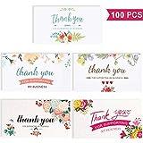100 Piezas de Tarjetas de Thank You for Supporting My Business Tarjetas Coloridas de Apreciación de Flor Tarjetas de Felicitación de Negocios para Propietarios de Pequeñas Empresas, 2 X 3.5 Pulgadas