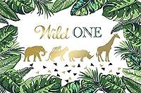 新しいワイルドワンの背景10x7ftハッピー1歳の誕生日グリーン写真の背景アドベンチャーケーキテーブルの装飾のジャングル動物ウッドランドパーティーフォトブース撮影小道具ビニール壁紙