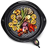 Elite Gourmet EMG-980B Large Indoor Electric Round Nonstick Grill Cool Touch Fast Heat Up Ideal Low-Fat Meals Easy to Clean Design Dishwasher Safe Includes Glass Lid, 14', Black