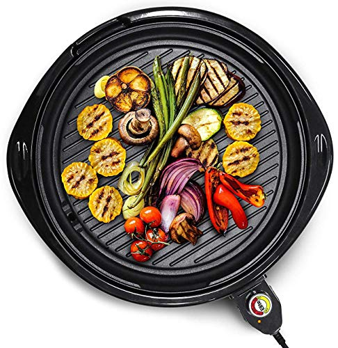"Elite Gourmet EMG-980B Indoor Electric Grill, 14"" Round, Black"