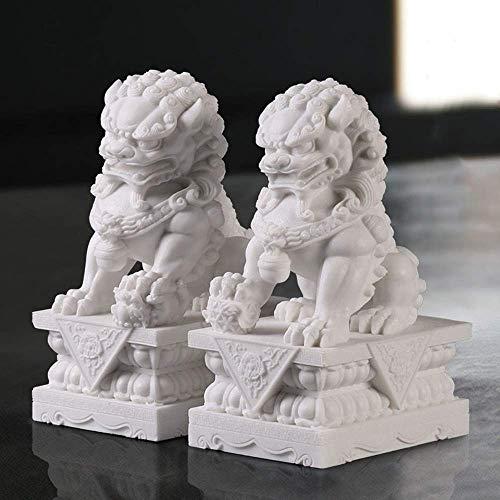 LEILEI Stone Guardian Foo Dog Statue,un par de Perros Fu Foo,Feng Shui Foo Dog Lion,Animal auspicioso Tradicional Chino,mármol Blanco,Jade,protección contra la energía maligna