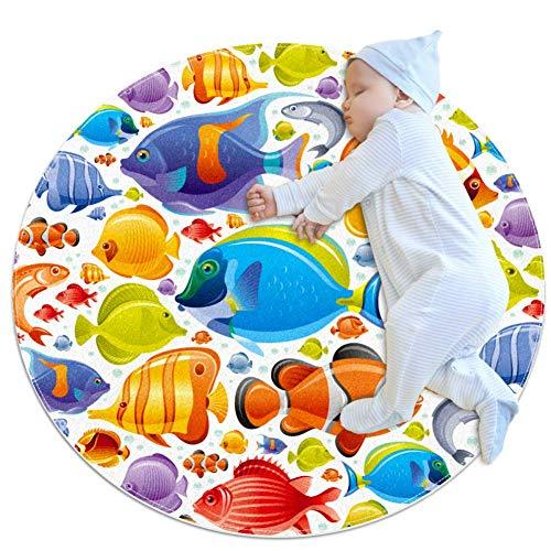 Xingruyun Runde Matte Cartoon Fisch kinderteppich rutschfest Spielteppich Teppich Kinderzimmer Babyteppich Sanft 80x80cm