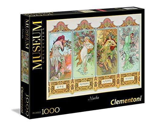 Clementoni 39177.6 - Puzzle 1000 teilig Mucha - Die 4 Jahreszeiten