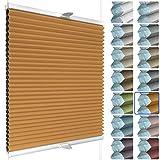 SchattenFreude Waben Plissee für Fenster | 100% verdunkelnd/Blackout | Mit Klemm Haltern | Klemmfix ohne Bohren | Orange (Weiße Rückseite), Breite: 30cm x Höhe: 100cm