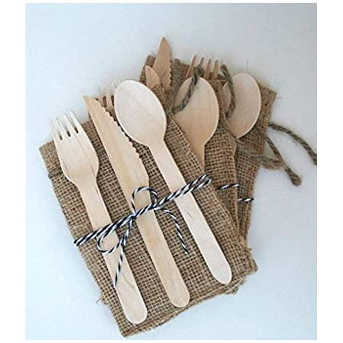 300 Pieces Disposable Wooden Cutlery Set by Easy Life Creations with 100 Forks 100 Knifes 100 Spoons | 100% Eco-Friendly Disposable Silverware, Birch Wood, Biodegradable, Compostable Utensils | EBOOK