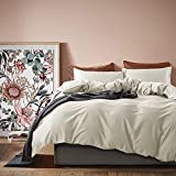 Solid Color Duvet Cover 120x98-inch Luxury Bedding Set 400 Thread Count Egyptian Cotton Long Staple Sateen Weave Breathable Silky Soft Pima Premium Quality Bed Linen (Super King, Bone)
