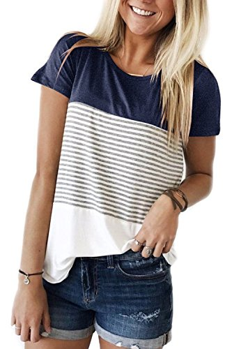 Women Tops and Blouses Plus Size Short Sleeve Shirts Summer Navy XXL
