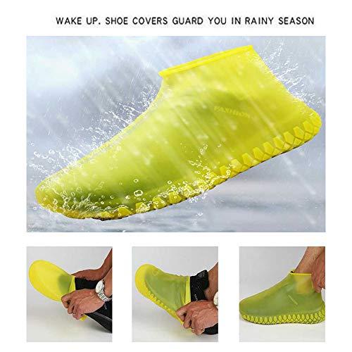 FOONEE Copriscarpe Impermeabili in Silicone Antiscivolo per Stivali da Pioggia, Copriscarpe in Silicone, Riutilizzabili, Copriscarpe da Viaggio (S)