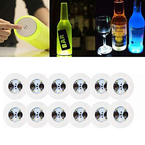 LED Coaster,12 Pack Light Up Coasters,LED Bottle Lights,Bottle Glorifier,LED Sticker Coaster Discs Light Up for Drinks,Flash Light Up Cup Coaster Flashing Shots Light (Cool-White)