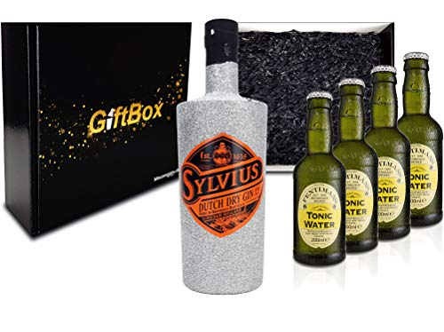 Gin Tonic Giftbox Geschenkset - Sylvius Dutch Gin Bling Bling Glitzerflasche Silber 0,7l 700ml (45% Vol) + 4x Fentimans Tonic Water 200ml inkl. Pfand MEHRWEG - [Enthält Sulfite]