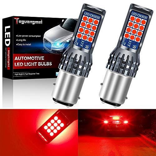 Teguangmei 2 pezzi 1157 BAY15D P21/5W Luce Freno a LED 3030 24SMD Rosso Super Luminoso 600 Lumen Utilizzato per Luce Freno Auto Retromarcia Lampadina Fanali Posteriori 12-36V 6W