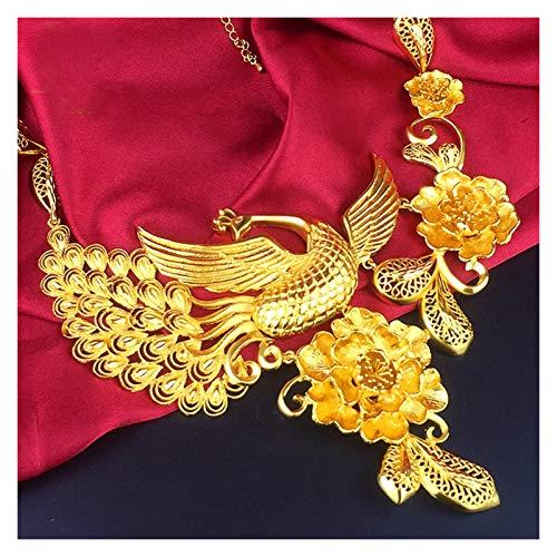 SFQRYP Dorado matrimonio celebración cadena pulsera anillos oreja dragón joyería conjunto fénix flor de boda conjunto magnífico aire chapado en oro simulación de oro novia joyería ( Color : A )