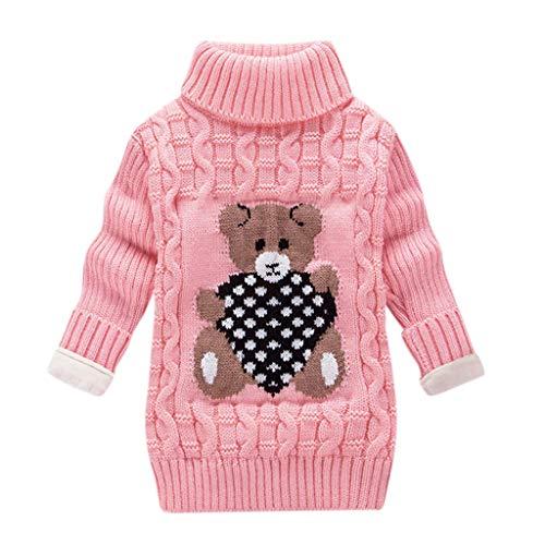 LEXUPE Kleinkind Kinder Baby Mädchen Jungen Bär Print Pullover Stricken Häkeln Tops Kleidung Outfits(E-Rosa,140)
