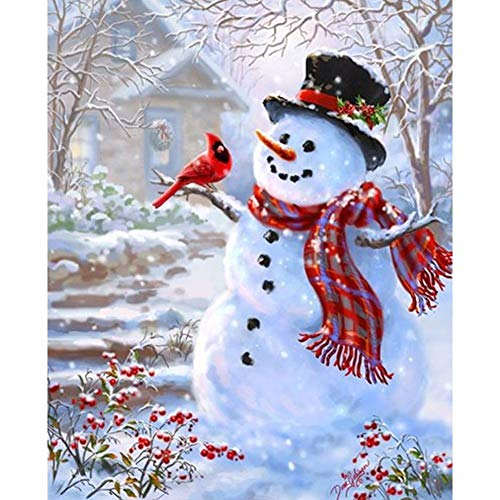 DIY 5D Diamond Painting by Number Kits,Diamond Painting Kits for Adults Beginner for Decoration Snow Man 11.8x15.7 in by BOYIsy