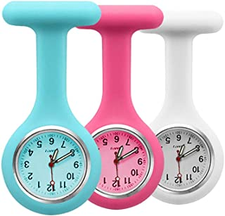 Set of 3 Nurse Fob Watches, Silicone Doctor Pocket Lapel Clip On Watches Gift (Blue Rose White)