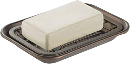 mDesign Metal 2-Piece Soap Dish Tray with Drainage Grid and Holder for Kitchen Sink Countertops to Store Soap, Sponges, Sc...