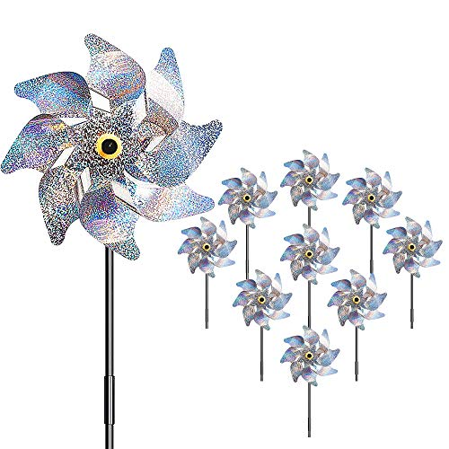 munloo 10 Pieces Pinwheels Bird Repellent, Bird Control Reflective Windmill...