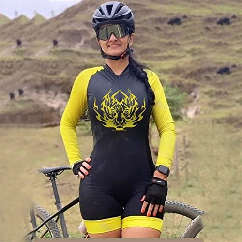 Conjuntos de jersey de ciclismo para mujer, mono de montar, ropa de triatlón de manga larga, jersey de bicicleta, traje de piel, ropa deportiva para correr MTB (Color : 7, Size : XX-Large)