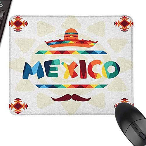 Mexicaanse Gaming Mouse Pad Mexico Traditionele Aztec Motieven en Sombrero Straw Hoed en Snor Grafische Print